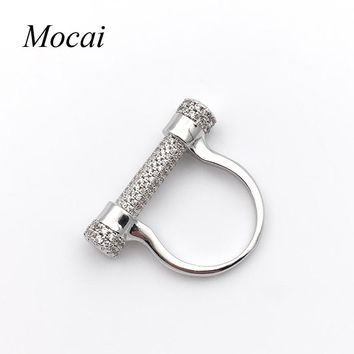 Mocai Horse Hoof Steampunk Silver Rings for Women Brand  Fashion Charm Punk Lady Screw Ring Jewelry Party Accessory ZK20