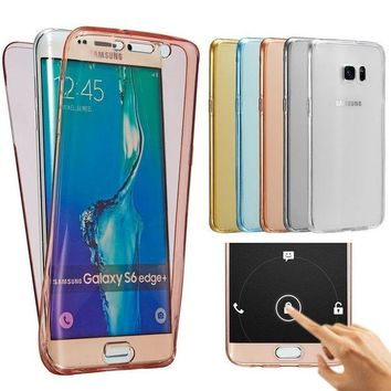 DCCKHY9 Front Back Clear Case For Samsung Galaxy A3 A5 A7 2016 A310 A510 A710 S6 S7 Edge Note 5 Full Protective Fundas For iphone 6 Plus