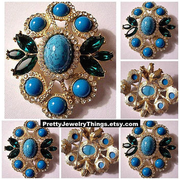 Sarah Coventry Blue Green Crystal Pin Brooch Necklace Pendant Gold Tone Vintage Cabochon Speckled Beads Green Glass Leaves Rhinestone Rings