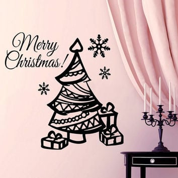 Christmas Wall Decal Christmas Tree Decal Holiday Stikers Merry Christmas Vinyl Letters Home Decor Living Room Window Design Interior KY41