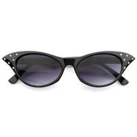 Vintage Inspired Unique 50s Fashion Womens Cat Eye Sunglasses with Rhinestones