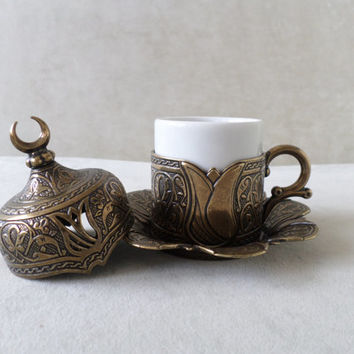 Authentic Copper Handmade Turkish Coffee Espresso Cup Saucer Cover : Ottoman Tulip Pattern