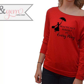 Disney Sweatshirt // Practically Perfect in Every Way // Mary Poppins Shirt Silhouette // Disney Shirt // Disney Apparel // Mary Poppins