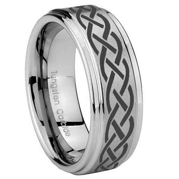8mm Celtic Knot Step Edges Brushed Tungsten Carbide Mens Anniversary Ring