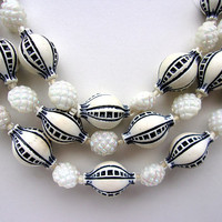 Black & White Germany Triple Strand Necklace Decorated Beads Vintage