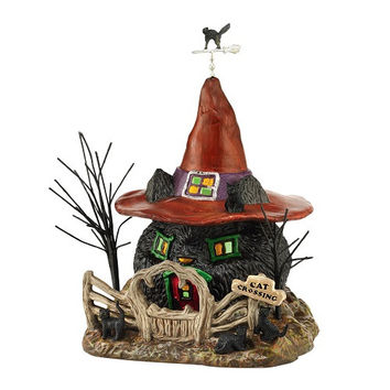 Snow Village Halloween Black Cat Shack-Dept. 56-4044877