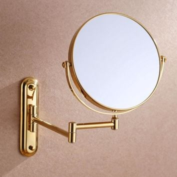 Luxury Gold 3x 1x Magnifying Wall Mount Makeup Mirror 8-Inch Two-Sided Extendable Bathroom Vanity Mirror Cosmetic mirror