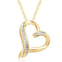 10k Yellow Gold Diamond Abstract Heart Pendant Necklace (1/20 cttw, I-J Color, I2-I3 Clarity), 18""