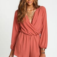 Rust Woven Wrap Romper - LoveCulture