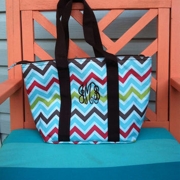 Monogram Chevron Insulated Lunch Tote - Monogrammed Cooler Bag