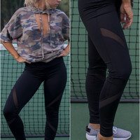 Pump It Up Black Active Wear Yoga Pants