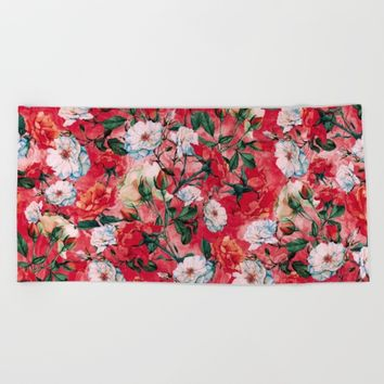 Rose Red Beach Towel by RIZA PEKER