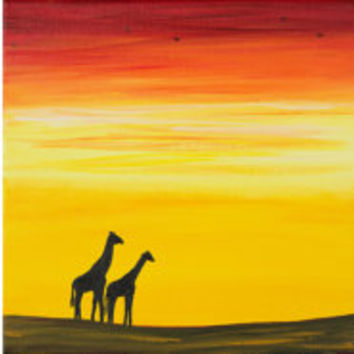 "Mothers day gift Wall art 36"" Animal painting Africa Giraffes Original art Landscape Painting home decor""African Sunset"" by QIQIGALLERY"