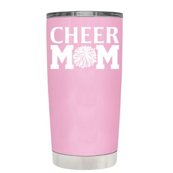 Cheer Mom Pom Pom on Pretty Pink 20 oz Tumbler Cup