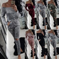 KAYWIDE 2016 Women Winter Romper Series Fashion Sexy Playsuits Autumn Bodysuits Velour Hollow Out Jumpsuits For Women A16619
