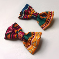 Tribal Print Bows / Triabl Hairbows / Hair Bow Clips Set / Blue / Teal / Magenta / Gold