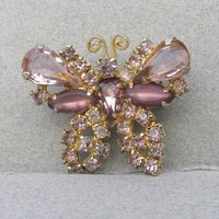 Signed WEISS 1960's Vintage Dainty Lavender Rhinestone BUTTERFLY Pin