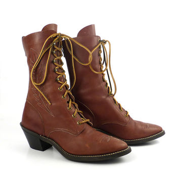 Roper Boots Vintage 1980s Leather Brown Granny Lace up Packer Women's size 7 1/2