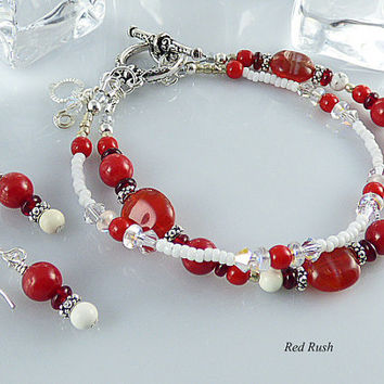 Jewelry Set, Red Handmade Beaded Double Strand Bracelet with Matching Drop Earrings, Toggle Clasp, Sterling Silver, Heart Charm, Coral, Gift