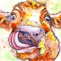Fabulous Print of Original Watercolour Jersey Cow Painting by Josie P   Size: 8.3ins x 11.7ins (29.7cm x 21cm)