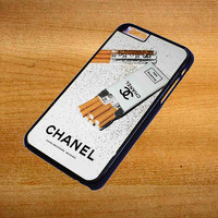 Girly White Glitter Chanel Cigarettes Packet For iPhone 6 Plus Case *76*