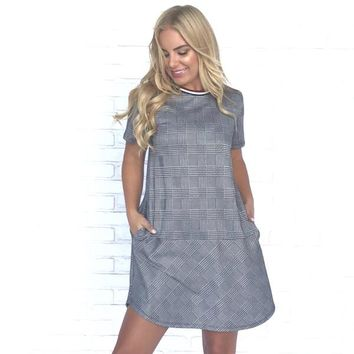 Race To The Finish Plaid Pocket Shift Dress