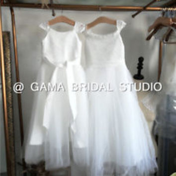 Cap Straps Tulle Lace Long Country Flower Girl Dresses  2T 3T 4T 5T 6T 7T
