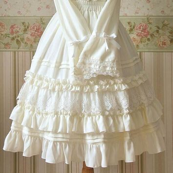 Ruffled Empire Tiered Vintage Lolita White or Black Skirt