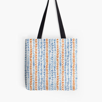 'Red and blue vertical pattern' Tote Bag by Foxeye Daisy