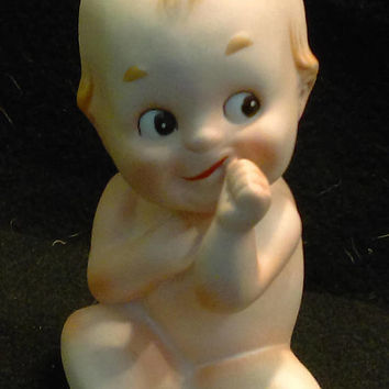 Porcelain Blue Wing Kewpie Doll Piano Baby Figurine, KW228  (1284)   ***