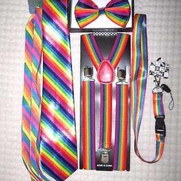 Unisex Rainbow Stripes Adjustable Bow tie,Neck Tie,Suspenders,Lanyard,Shoelaces6