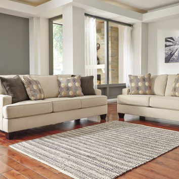2 pc Brielyn collection linen fabric upholstered sofa and love seat set with squared arms