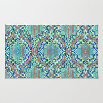 Marker Moroccan in Aqua, Cobalt Blue, Taupe & Teal Area & Throw Rug by micklyn | Society6