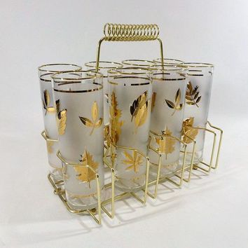 Vintage 50s Libby Fostoria Starlyte Glassware Glasses Set in Metal Caddy / Tom Collins / Barware - $65.00 - Vintage Items and Unique Gifts by HooliganPieVintage