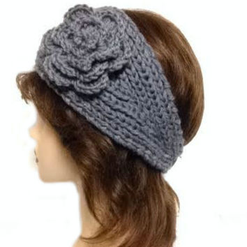 Women's Light Grey Large Crochet Flower Adjustable 2 Button Stretch Headband Ear Warmer Crochet Headband