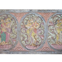 Antique Vintage Kamasutra Decorative Hand Carved Panel Bedroom Eclectic Decor, Boho Shabby Chic Wall Hanging, Wall Decor
