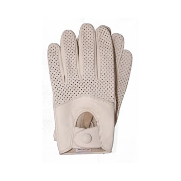 Riparo Women's Leather Half Mesh Driving Gloves - White