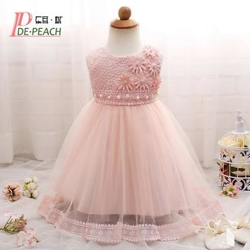 New Summer Baby Dresses For Party Flowers Pearls Princess Girls tutu Lace Dress Baby Girl Christening Gown Infants Kids Vestidos