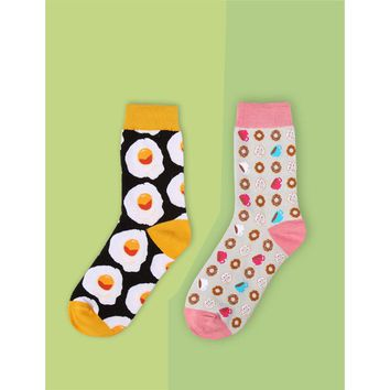 Sunny Side Up Egg, Bread, Coffee, Donuts, Cupcakes Socks Funny Crazy Novelty Funky