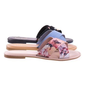 Bayside09s By Bamboo Open Toe Flat Sandal, Slide Slipper In Solid Or Floral Prints