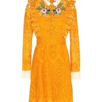 Embroidered broderie anglaise dress