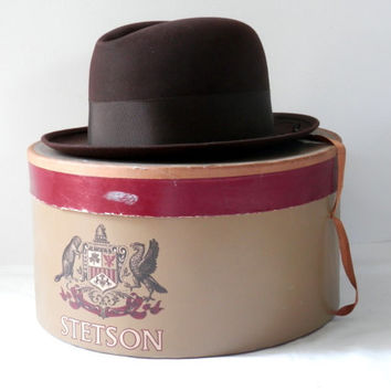 Deco Era Brown Stetson Hat with Original Box