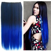 Uniwigs Ombre Dip-dye Color Clip in Hair Extension 60cm Length Black to Blue Straight for Sale Tbe00020