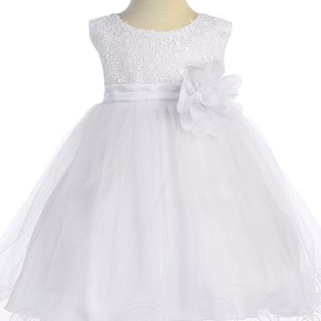 Baby Girls White Sequin Party Dress w. Lettuce Tulle Hem 3-24m