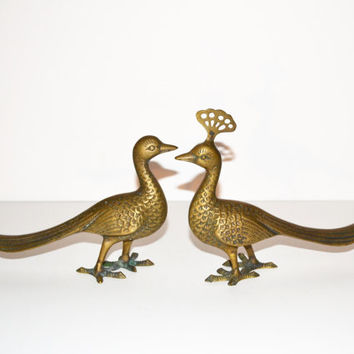 Vintage Brass Peacocks Art Deco Peacock Figurines Brass Animal Figurines Brass Peacock Statues Set of 2 Peacocks