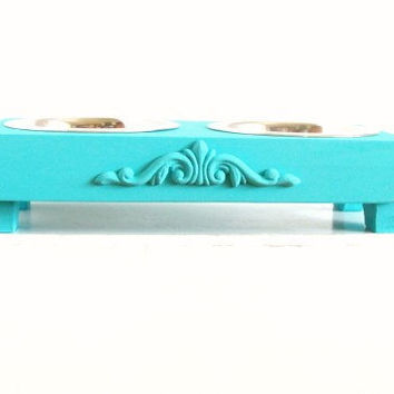 Teal Blue Elevated Dog Feeder Beach Cottage by baconsquarefarm