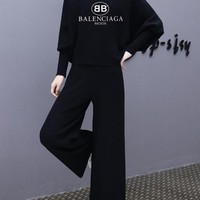 """Balenciaga"" Women Fashion Letter Print Turtleneck Long Sleeve Wide Leg Pants Trousers Set Two-Piece Sportswear"