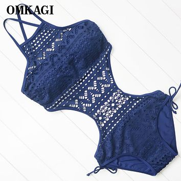 OMKAGI Brand Lace Swimwear Women One Piece Swimsuit Sexy Push Up Hollow Out Swimming Bathing Suit Beachwear Monokini 2018