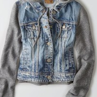 AEO 's Hooded Denim Jacket (Medium Wash)