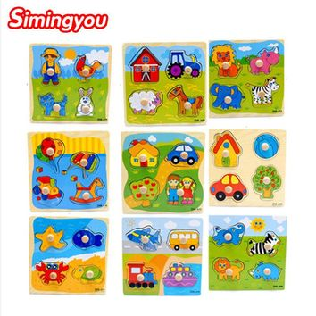Simingyou Small Wooden Animals Cartoon Grab Peg Knob Puzzles Toy 1 Pcs D10-Q-64 Dropshipping (Random)